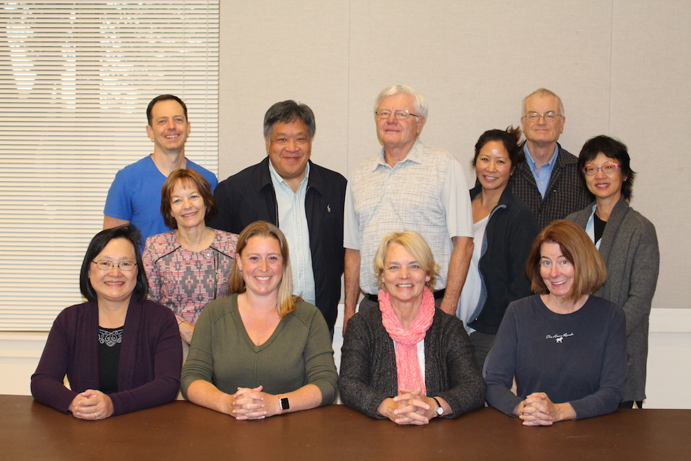SEATED: L to R: Lauren Merriman, President; Nina Wong-Dobkin, Vice President; Nancy Stuhr, Secretary; Carla Dorow, Treasurer. Standing: L to R: Park Chamberlain, Dick Walker, Wai Mo, David Fung, and Pamela Baird. Not pictured: Jenise Henrikson, Kevin Henrikson, and Timothy Wood.